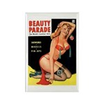 Beauty Parade Pin Up with Rose Rectangle Magnet (1