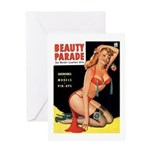 Beauty Parade Pin Up with Rose Greeting Card