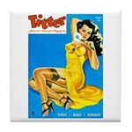Titter Pin Up Girl in Yellow Dress Tile Coaster