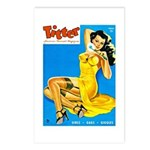 Titter Pin Up Girl in Yellow Dress Postcards (Pack