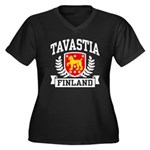 Tavastia Finland Women's Plus Size V-Neck Dark T-S