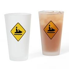 Warning : Jetski Drinking Glass