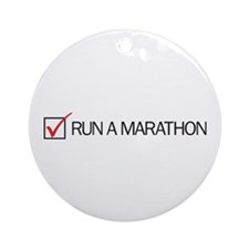 Run a Marathon Check Box Ornament (Round)