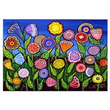 Whimsical Colorful Flowers Fun Folk Art