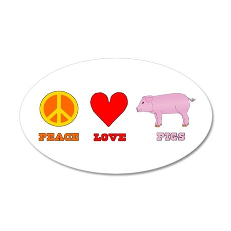 Peace Love Pigs 38.5 x 24.5 Oval Wall Peel