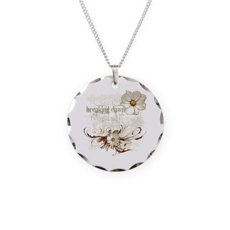 Breaking Dawn Floral Necklace Circle Charm