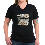 Breaking Dawn Floral Women's V-Neck Dark T-Shirt