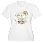 Breaking Dawn Floral Women's Plus Size V-Neck T-Sh