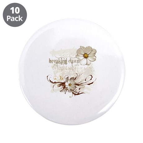 """Breaking Dawn Floral 3.5"""" Button (10 pack)"""