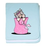 Pink Ribbon Yorkie Dog baby blanket