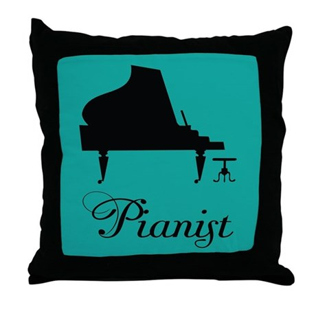Pianist Music Piano Silhouette Throw Pillow