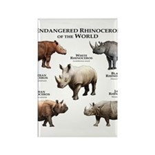 Rhinos of the World Rectangle Magnet