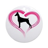 Heart My Doberman Ornament (Round)