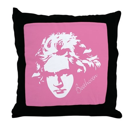 Beethoven Music Pink Throw Pillow