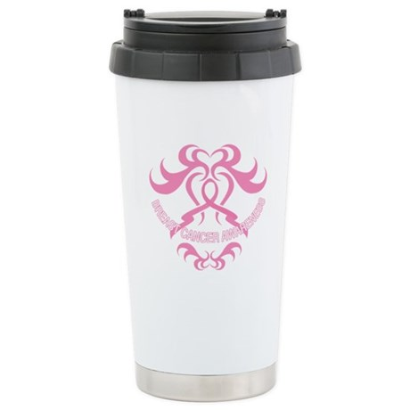 Tribal Breast Cancer Awareness Ceramic Travel Mug