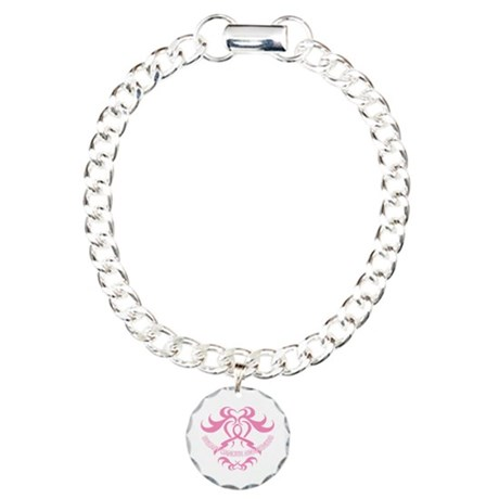Tribal Breast Cancer Awareness Charm Bracelet, One