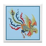 Colorful Chinese Peacock Tile Coaster