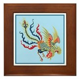 Colorful Chinese Peacock Framed Tile