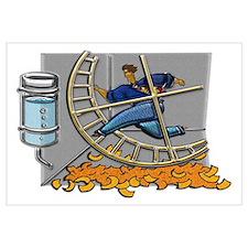 Caged Man Jogging Hamster Wheel