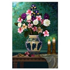 Victorian Floral Still Life Original Graphic Art