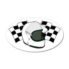 Helmet & Flags 20x12 Oval Wall Decal