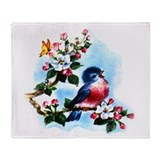 Cute Bluebird Singing Throw Blanket