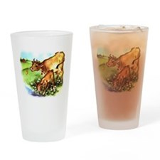 Cute Cow Calf Farm Drinking Glass