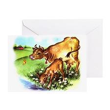 Cute Cow Calf Farm Greeting Card