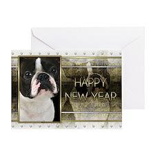 New Year - Golden Elegance - Boston Terrier Greeti