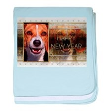 New Year - Golden Elegance - Beagle baby blanket