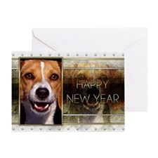 New Year - Golden Elegance - Beagle Greeting Card
