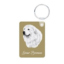 Great Pyrenees Aluminum Photo Keychain, sand color