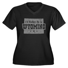 I'd Rather Be In Wyoming Women's Plus Size V-Neck