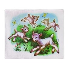Cute Sheep Baby Lambs Throw Blanket