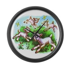 Cute Sheep Baby Lambs Large Wall Clock