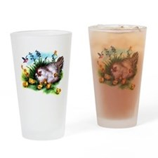 Mother Hen Yellow Chicks Drinking Glass