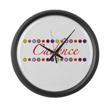 Cadence with Flowers Large Wall Clock