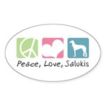 Peace, Love, Salukis Sticker (Oval 10 pk)