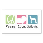 Peace, Love, Salukis Sticker (Rectangle 10 pk)