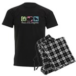 Peace, Love, Schipperkes Men's Dark Pajamas
