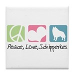 Peace, Love, Schipperkes Tile Coaster