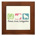 Peace, Love, Schipperkes Framed Tile