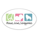 Peace, Love, Schipperkes Sticker (Oval 10 pk)