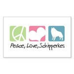 Peace, Love, Schipperkes Sticker (Rectangle 50 pk)