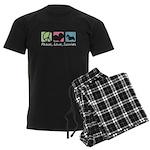 Peace, Love, Scotties Men's Dark Pajamas
