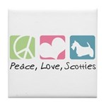 Peace, Love, Scotties Tile Coaster