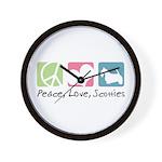 Peace, Love, Scotties Wall Clock