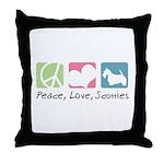 Peace, Love, Scotties Throw Pillow