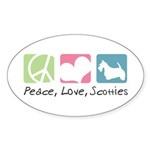 Peace, Love, Scotties Sticker (Oval 10 pk)