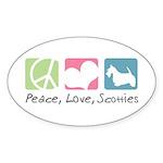 Peace, Love, Scotties Sticker (Oval 50 pk)